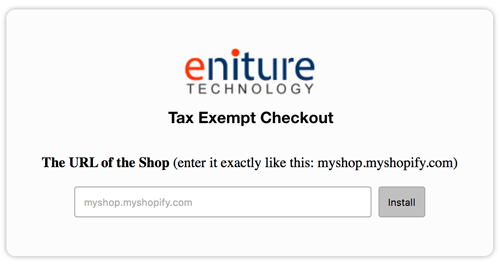 Tax Exempt Checkout for Shopify - Eniture Technology