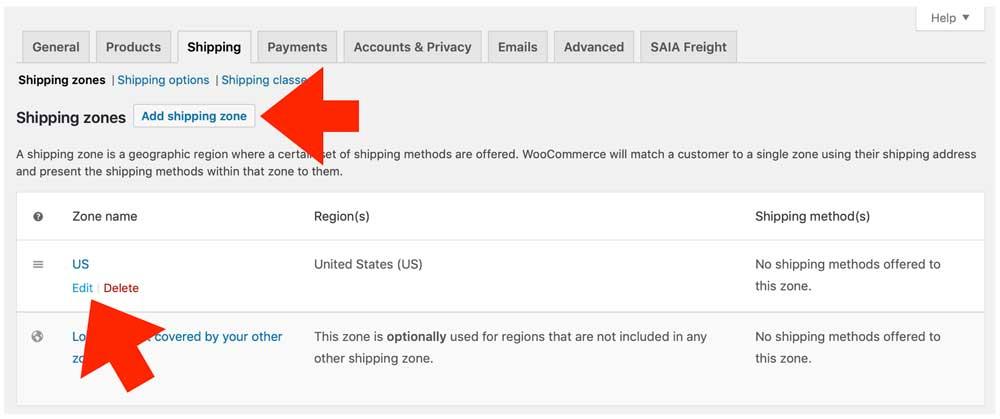 Woocommerce-SAIA Add Edit Shipping Zone