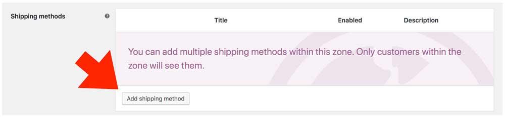 WooCommerce Add Shipping Method