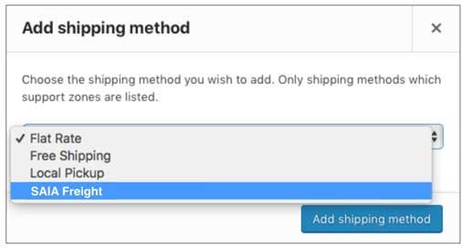 Woocommerce SAIA Choose Shipping Method