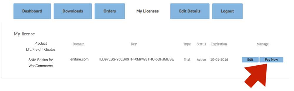 Woocommerce SAIA Manage License