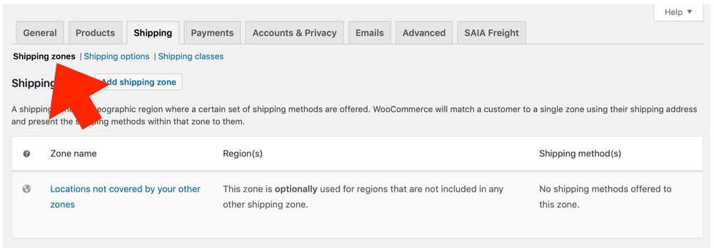 Woocommerce SAIA Shipping Zones