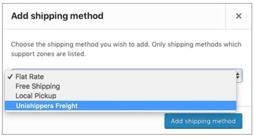 Unishippers-WooCommerce-Add-Shipping-Method
