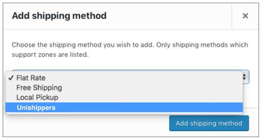 Unishippers WooCommerce Add Shipping Method