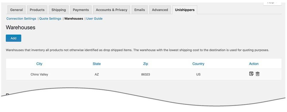 Unishippers WooCommerce Plugin Warehouse Settings