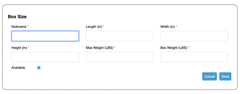 Unishippers Small Package Quotes for Shopify Box Settings
